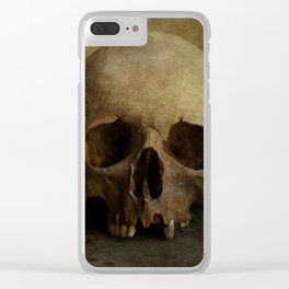 Male skull in retro style Clear iPhone Case