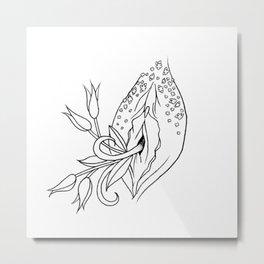 Floral Vag (Uncolored) Metal Print