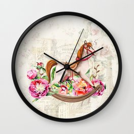 Vintage Collage and Rocking Horse Wall Clock