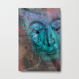 Buddha Face blue Metal Print