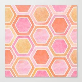 Desert Mood II - Watercolor Hexagon Pattern Canvas Print