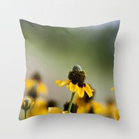hats Throw Pillows featuring Yellow hats by Julia Goss Photography