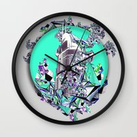 cityscape Wall Clocks featuring Cityscape by infloence