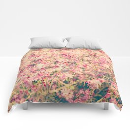 Vintage Pink Crabapple Tree Blossoms in the Sun Comforters