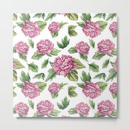 Pink coloured peony Metal Print