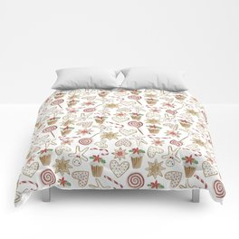 Watercolor seamless pattern with christmas sweets. Comforters