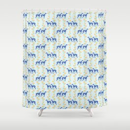 Floral Greyhounds in Yellow Shower Curtain