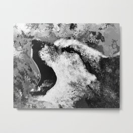 Watercolor Wolf Howl (Black and White) Metal Print
