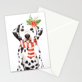 Adorable Holiday Dalmatian Puppy Stationery Cards