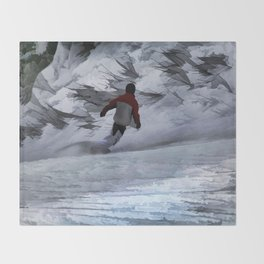 """Snowboarder """"Carving the Mountain"""" Winter Sports Throw Blanket"""