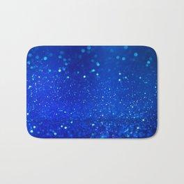 Abstract blue bokeh light background Bath Mat