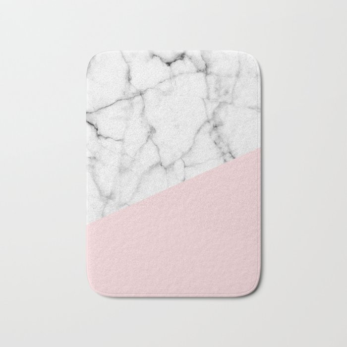 real white marble half powder blush pink bath mat by 5mmpaper society6