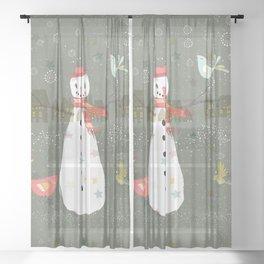 Cute Christmas Snowman & Birds Winter Scene Sheer Curtain