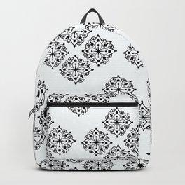 Black and White Floral Mandela Backpack