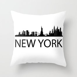 Black Silhouette of New York State of New York Silhouette Throw Pillow