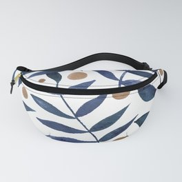 Watercolor berries and branches - indigo and beige Fanny Pack