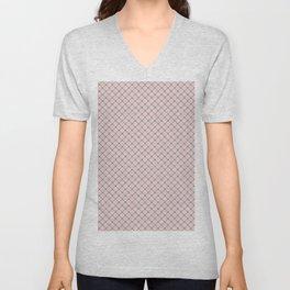 Pink -  gray and white checkered pattern Unisex V-Neck