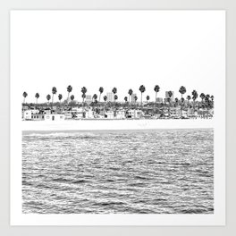 Vintage Newport Beach Print {4 of 4} | Photography Ocean Palm Trees B&W Tropical Summer Sky Art Print