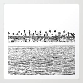 Vintage Newport Beach Print {4 of 4} | Photography Ocean Palm Trees B&W Tropical Summer Sky Art Print