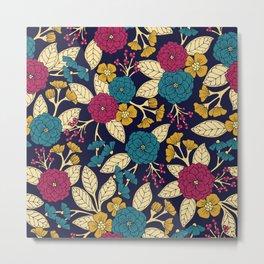 Turquoise, Magenta, Mustard Yellow, Navy Blue & Cream Floral Pattern Metal Print