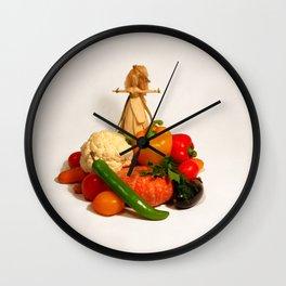 Corn husk doll WELCOME and vegetarian food Wall Clock