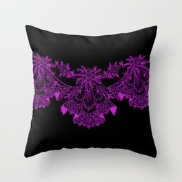 Vintage Lace Hankies Black and Dazzling Violet Throw Pillow