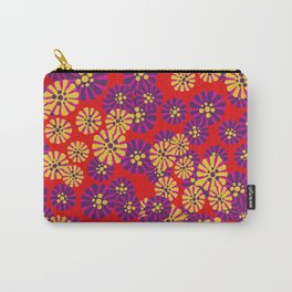 Retro Red Ditsy Floral Carry-All Pouch