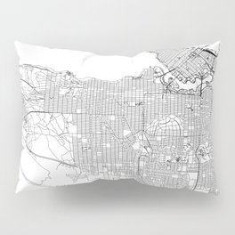 Vancouver White Map Pillow Sham