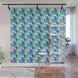 Monster Dots in Blue – Nice Pattern for Children Wall Mural
