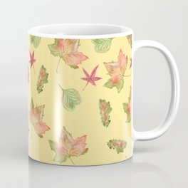 Autumn Leaves Pattern, Light Orange Background Coffee Mug