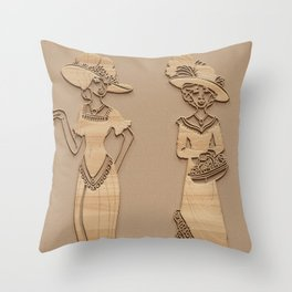 Victorian Ladies - Simulated Carved Wood Throw Pillow