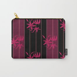 Striped floral maroon and black pattern with lillies Carry-All Pouch