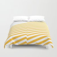 bands Duvet Covers featuring Yellow bands by blacknote