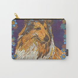 Rough Collie and Blue Flowers Carry-All Pouch