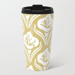 Calla Lily Pattern Gold Travel Mug