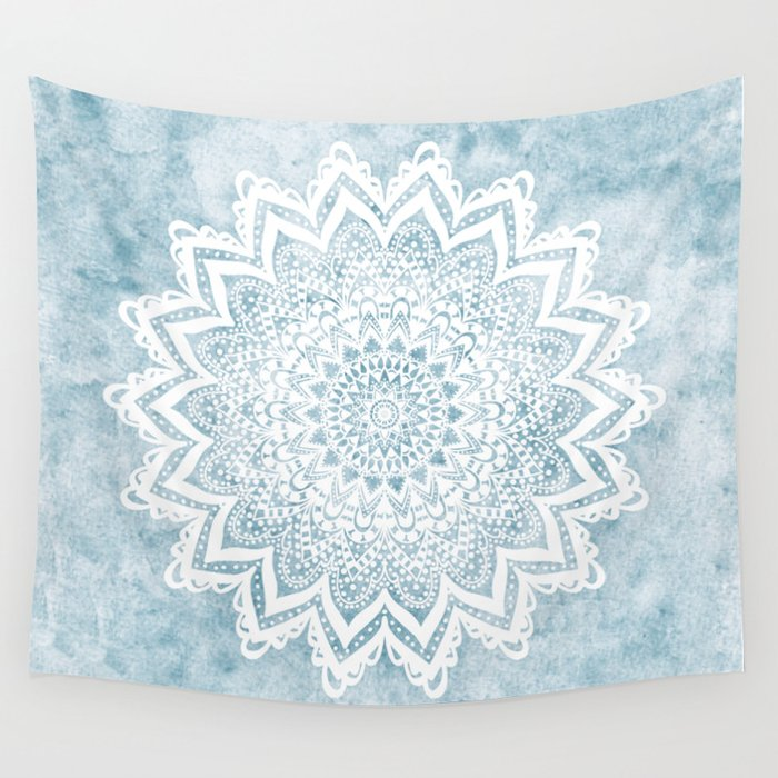 LIGHT BLUE MANDALA SAVANAH Wall Tapestry