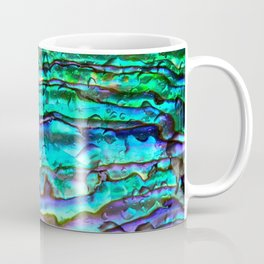 Glowing Aqua Abalone Shell Mother of Pearl Coffee Mug