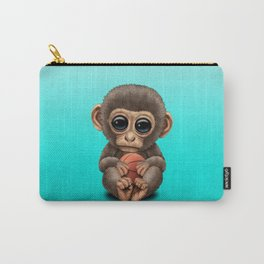 Cute Baby Monkey Playing With Basketball Carry-All Pouch