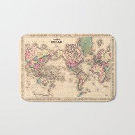 1861 World Map - Johnson's World on Mercators Projection Bath Mat