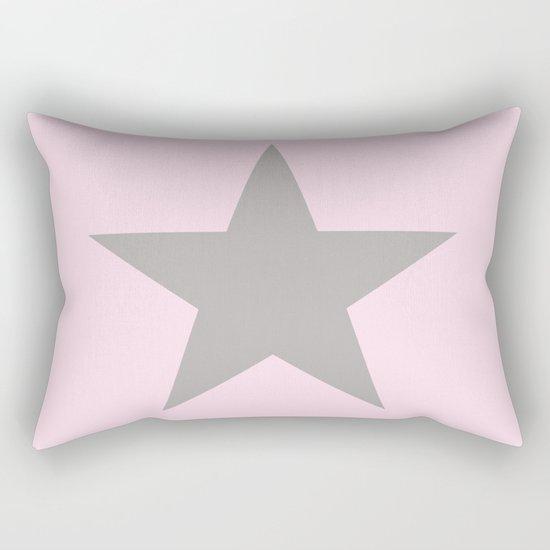 Grey star on pink background Rectangular Pillow