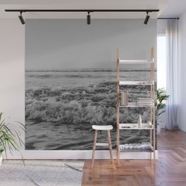 Black and White Pacific Ocean Waves Wall Mural