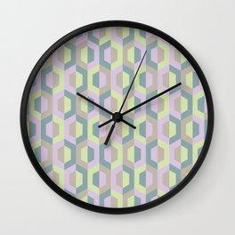 Pastel Two Tone Hexagon Wall Clock