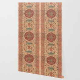Flowery Vines II // 16th Century Contemporary Red Blue Yellow Colorful Ornate Accent Rug Pattern Wallpaper