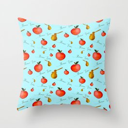 Apples and Honey Shana Tova in Blue Throw Pillow