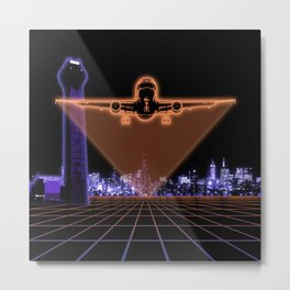 Digital Airplane Takeoff Metal Print