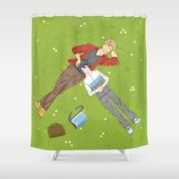 iwatobi Shower Curtains featuring Sunbathing by Le Piaf Bleu