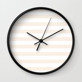 Narrow Horizontal Stripes - White and Linen Wall Clock