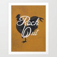 Rock Out (small / black) Art Print