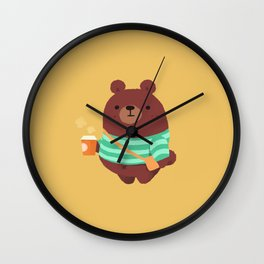 Brown bear mug, bag, and more Wall Clock
