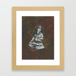 Girl Sits with Tea Framed Art Print